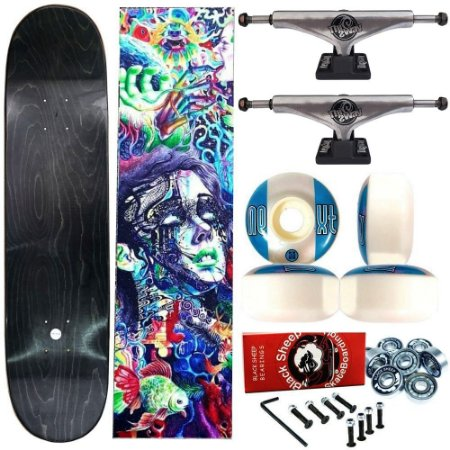 Skate Completo Profissional Universo Maple Liso 8.125 (shape sem estampa) + Truck ThisWhay Silver