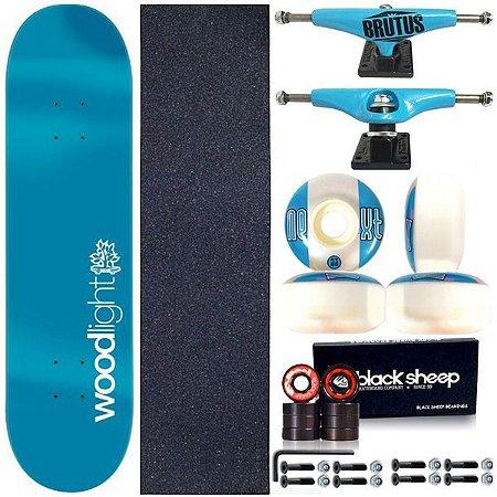 Skate Completo Shape Wood Ligth 8.0 Blue Light + Truck BS 139mm Blue