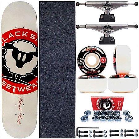 Skate Completo Shape Black Sheep White 8.0 + Truck This Way + Roda BS Importada