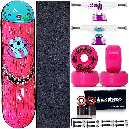 Skate Completo Maple Milk Monster Pink 8.0 + Roda BS Importada + Truck Stronger