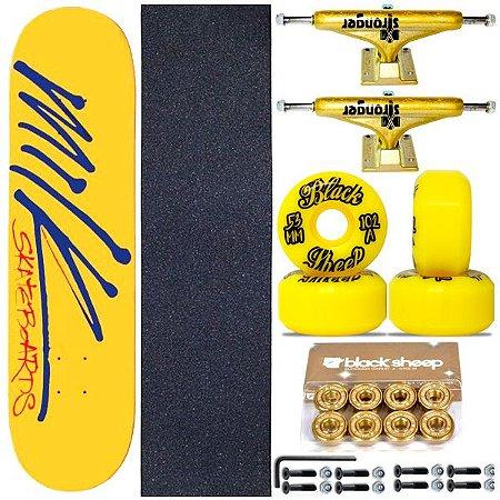 Skate Completo Maple Milk Yellow 8.0 + Roda BS Importada + Truck Stronger