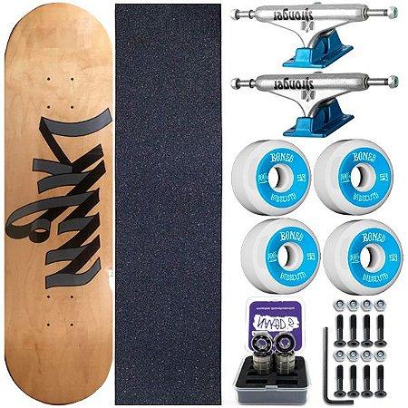 Skate Completo Maple Milk Write 8.0 + Rolamento Chaze + Roda Bones + Truck Stronger
