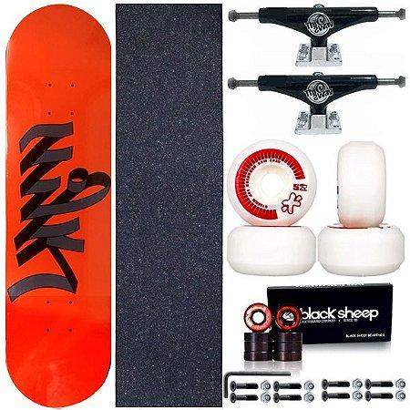 Skate Completo Maple Milk Write Orange 8.0 + Truck ThisWhay + Roda Next Moska