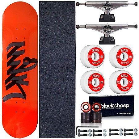 Skate Completo Maple Milk Orange 8.0 + Roda Bones + Truck ThisWay