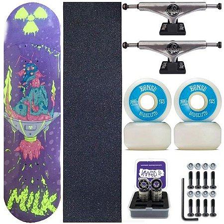 Skate Completo Maple Milk Monster Blue 8.0 + Roda Bones + Truck This Way