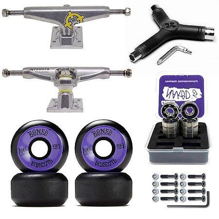 Truck Intruder 139mm + Roda Bones 55mm + Rolamento Chaze + Lixa Jessup + Parafusos