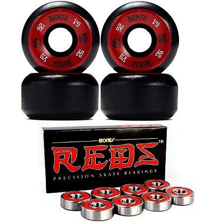 Roda Bones 52mm Black + Rolamento Reds-Bones Original