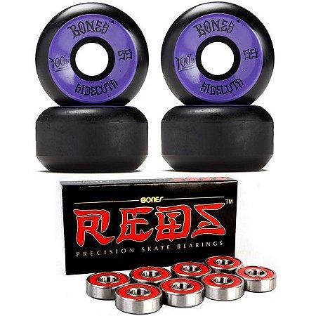 Roda Bones 55mm Black + Rolamento Reds-Bones Original
