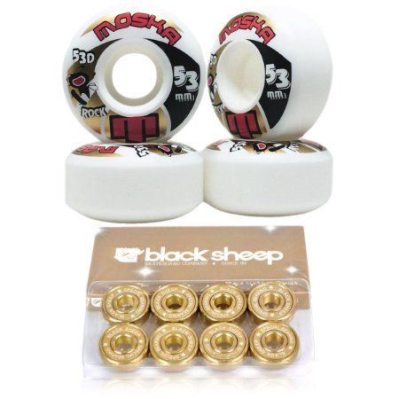 Roda Moska 53mm Rock + Rolamento Black Sheep Gold