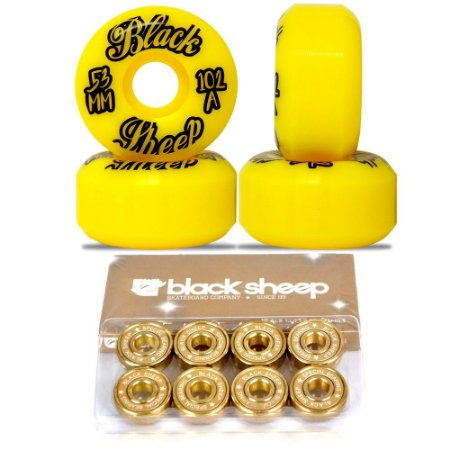 Roda Black Sheep 53mm Importada Yellow + Rolamento Black Sheep Gold