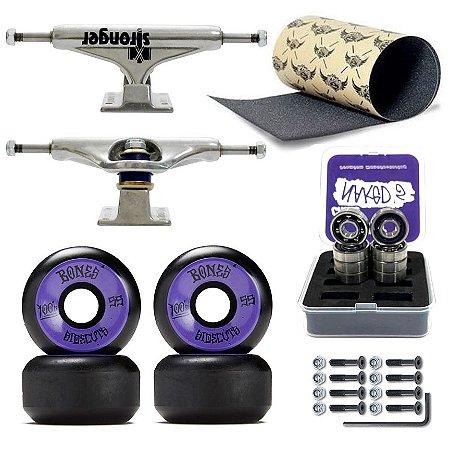 Truck Stronger 139mm + Roda Bones Black 55mm + Rolamento Chaze + Lixa Jessup