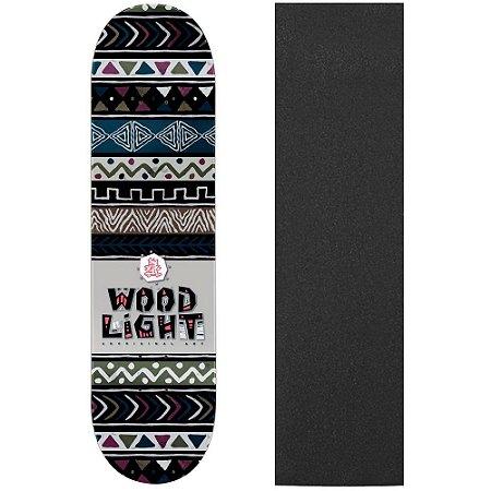 Shape de Skate Profissional Wood Light Ethnics Black 8.0 (Lixa de Brinde)