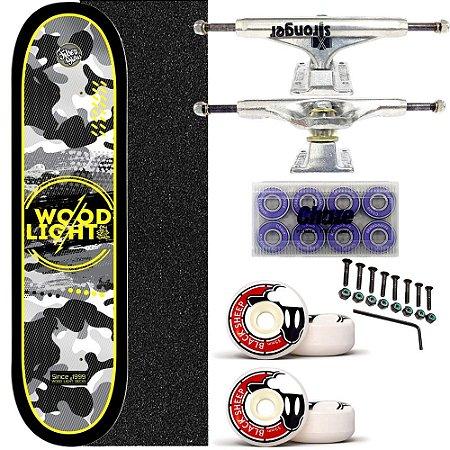 Skate Completo Shape Wood Ligth 8.0 Army Black Truck Stronger