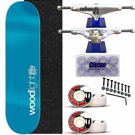 Skate Completo Shape Wood Ligth 8.0 Light Blue Truck Stronger