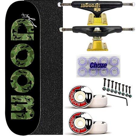 Skate Completo Shape Wood Light 8.0 Black Truck Stronger
