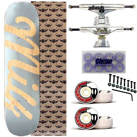 Skate Completo Maple Milk Skate Silver 8.0 + Truck Stronger