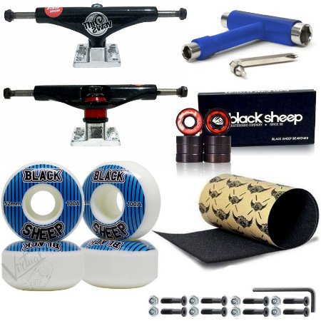 Truck This Way Black + Roda BS 52mm + Rolamento BS Black + Lixa Jessup + Chave Blue