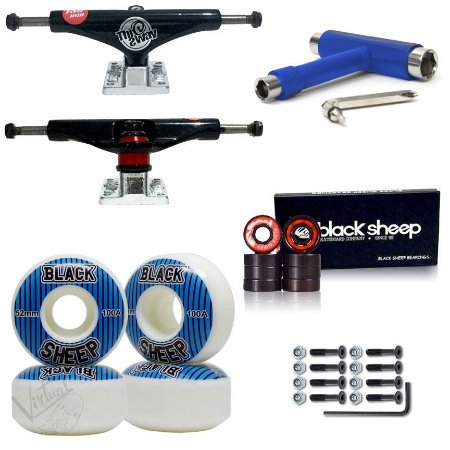 Truck This Way Black + Roda BS 52mm + Rolamento BS Black + Chave Blue