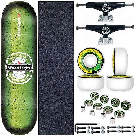 Skate Completo Shape Wood Light 8.0 Premium + Truck Black This Way