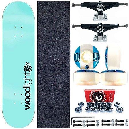 Skate Completo Shape Wood Light 8.0 Ligth Basic Blue + Truck Black This Way
