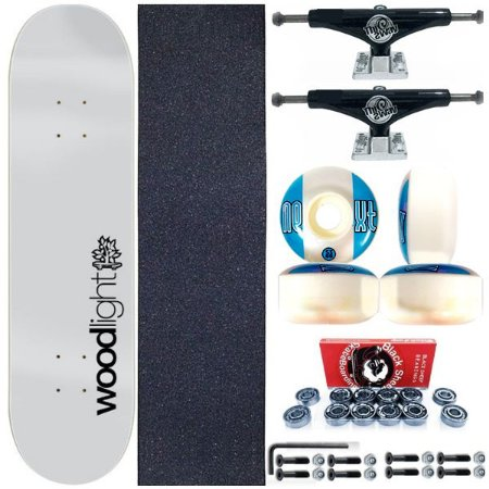 Skate Completo Shape Wood Ligth 8.0 Gray Light + Truck Black This Way