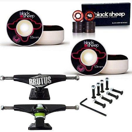 Roda Black Sheep 53mm Fundida + Truck Brutus Black 139mm + Rolamento Black + Parafusos