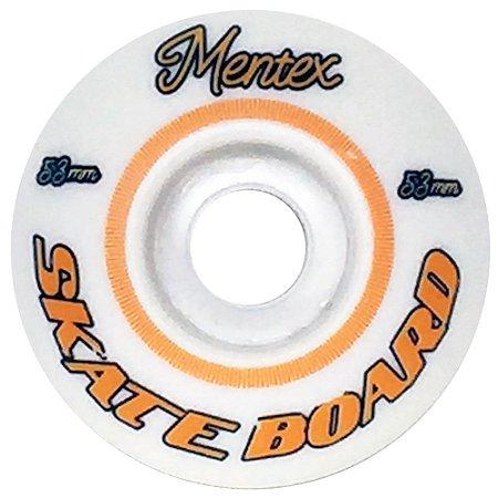 Roda para Skate Mentex 53mm Branca e Laranja ( jogo 4 rodas )