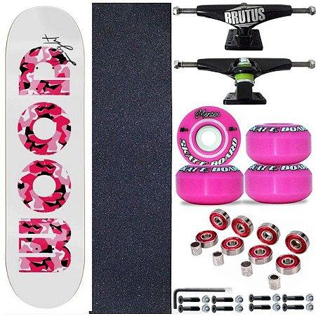 Skate Profissional Completo Shape Wood Light 8.0 Feminino Pink