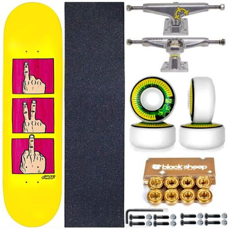 Skate Completo Shape Maple Chaze Revolution 8.0 Yellow + Truck Intruder