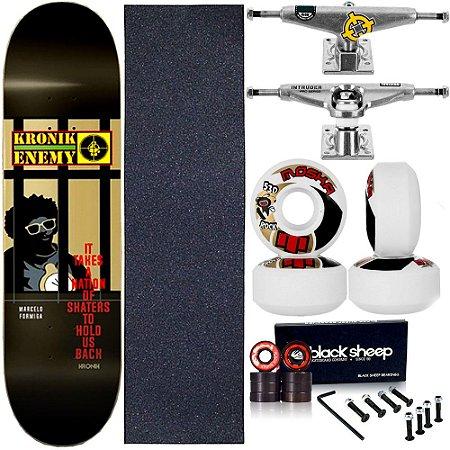 Skate Completo Maple Kronik 8.0 Enemy + Roda Moska + Truck Intruder
