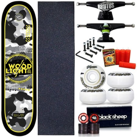 Skate Profissional Completo Shape Wood Light ArmyBlack 8.0 + Vela Thunder Skate