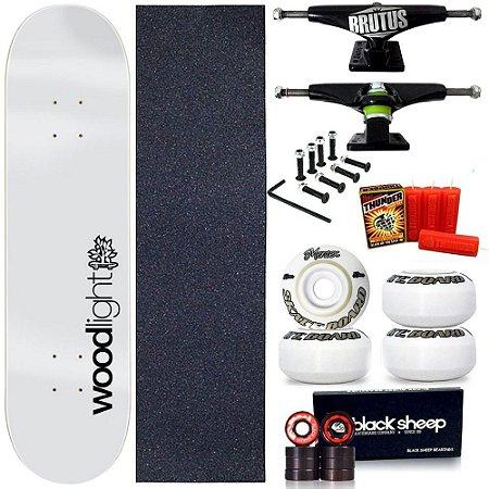 Skate Profissional Completo Shape Wood Light White 8.0 + Vela Thunder Skate