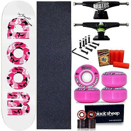 Skate Profissional Feminino Completo Shape Wood Light 8.0 + Vela Thunder Skate