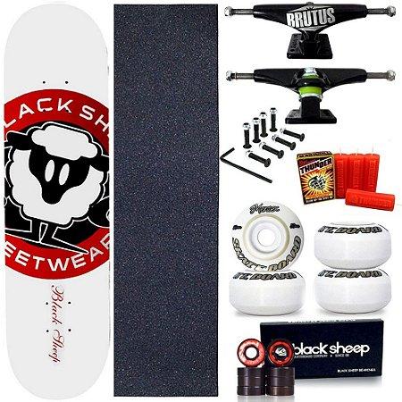 Skate Profissional Completo Shape Black Sheep Logo Branco 8.0 + Vela Thunder Skate