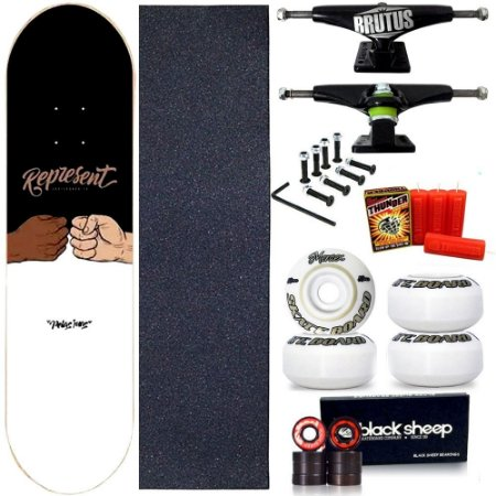 Skate Profissional Completo Shape Represente TamoJunto 8.0 + Vela Thunder Skate