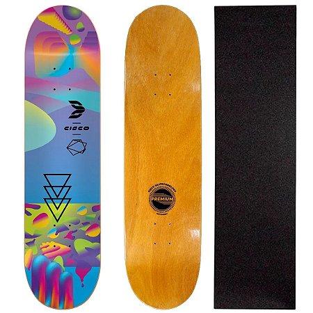 Shape Cisco Skate Fiber Decks Neon Blue 8( Lixa de Brinde)