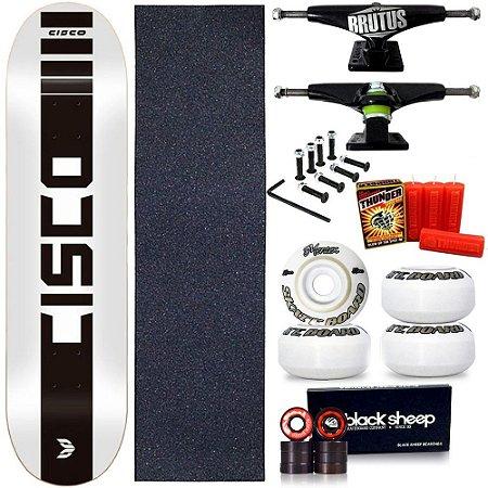 Skate Profissional Completo Shape Cisco Company White 8.0 + Vela Thunder Skate