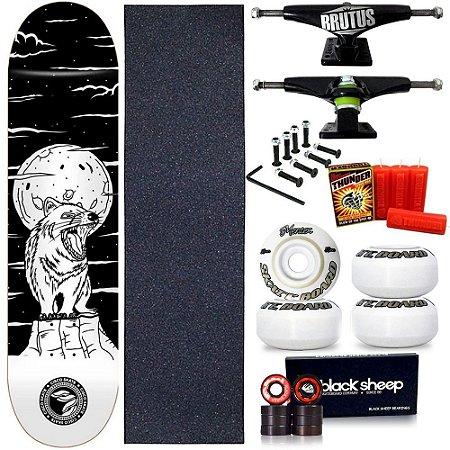 Skate Profissional Completo Shape Cisco Fiber Decks Serie Animal Fox 8.0 + Vela Thunder Skate