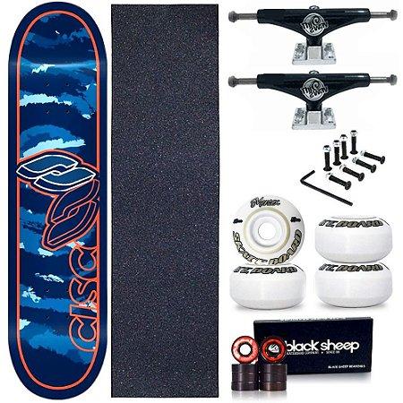 Skate Profissional Completo Shape Cisco Camufla Blue 8.0 + Truck This Way