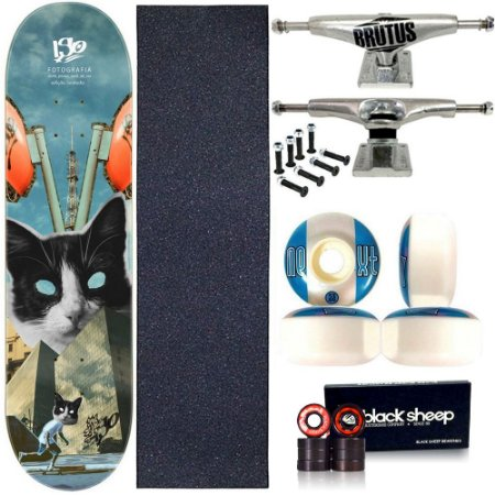 Skate Profissional Completo Shape Wood Light 8.0 Collab Iso Cat