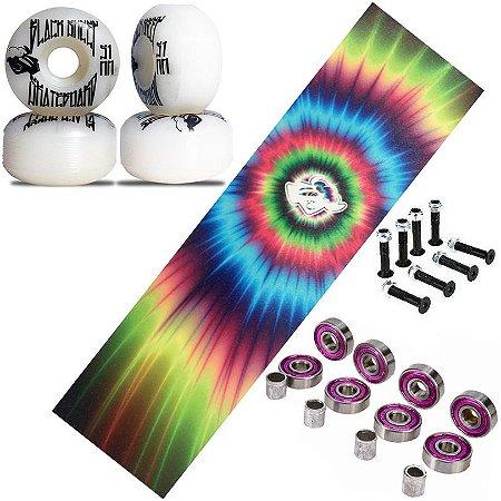 Roda 51mm para Skate + Rolamento Abec + Lixa Tie Dye + Parafusos Phillips