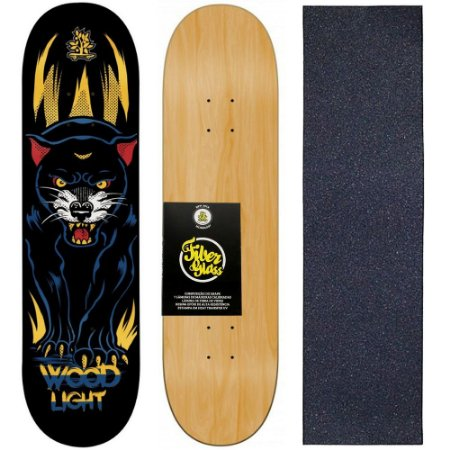 Shape de Skate Profissional Wood Light 8.0 Panther + Lixa de Brinde
