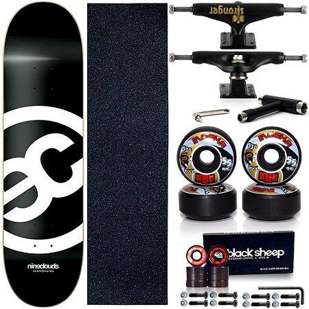 Skate Completo Maple Nineclouds 8.0 Black + Roda Moska + Truck Stronger