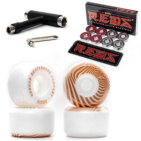 Roda Hondar 53mm Dureza 101A + Rolamento Reds-Bones Original + Chave T