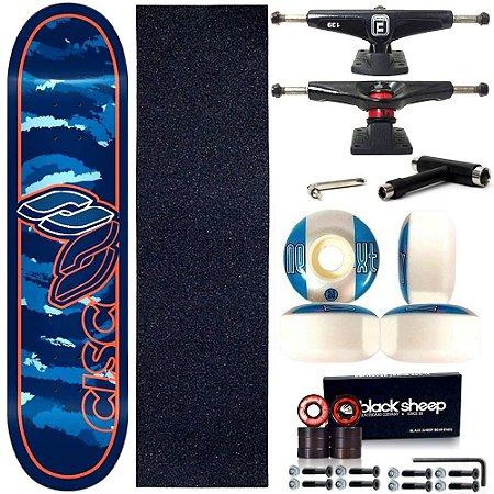 Skate Profissional Completo Shape Cisco Fiber Decks Style Blue 8.0
