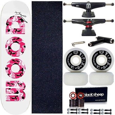 Skate Profissional Completo Shape Wood Light Fiber Glass Pink 8.0