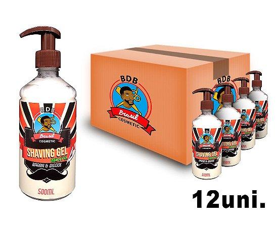 CAIXA COM 12 -  Shaving Gel De Barbear Mentol Batalha dos Barbeiros - 500ml