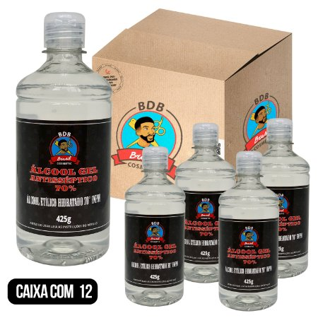 CAIXA COM 12 - Álcool em Gel Antisséptico - Alcool Etilico Hidratado 70º INPM