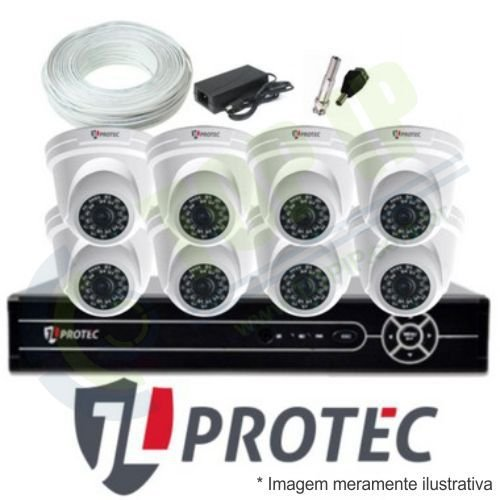 Kit CFTV 8 Canais JL PROTEC - Câmeras Dome