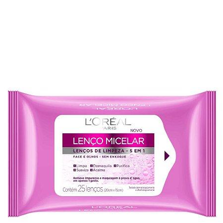 L'Oréal Paris Lenço Micelar, Lenços de Limpeza 5 em 1, Pacote com 25 Unidades